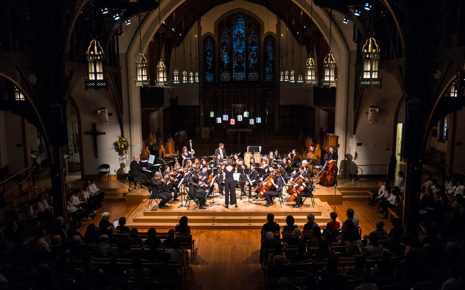 VSO School of Music string ensemble performance in Christ Church Cathedral, Vancouver