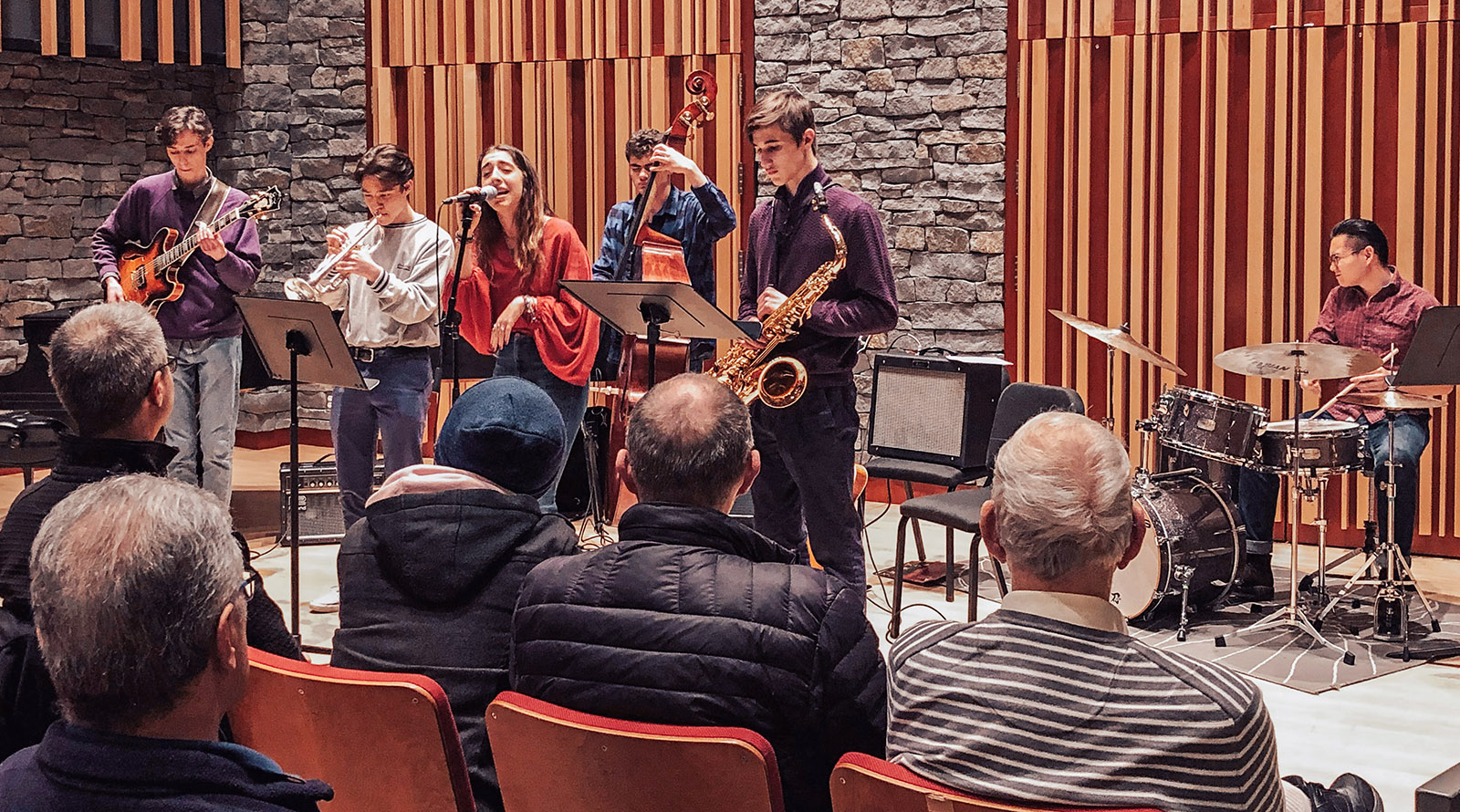 Student jazz combo performing in Pyatt Hall